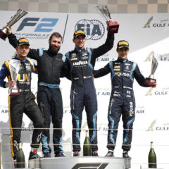 Luca Ghiotto (ITA, UNI VIRTUOSI), Nicholas Latifi (CAN, DAMS), and Sergio Sette Camara (BRA, DAMS) celebrate on the podium.