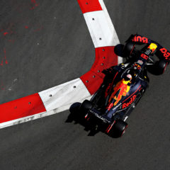 BAKU, AZERBAIJAN - APRIL 27: Max Verstappen of the Netherlands driving the (33) Aston Martin Red Bull Racing RB15 on track during final practice for the F1 Grand Prix of Azerbaijan at Baku City Circuit on April 27, 2019 in Baku, Azerbaijan. (Photo by Mark Thompson/Getty Images) // Getty Images / Red Bull Content Pool  // AP-1Z5MPK9UD2511 // Usage for editorial use only // Please go to www.redbullcontentpool.com for further information. //