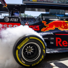SPIELBERG, AUSTRIA - JUNE 28: Max Verstappen of the Netherlands driving the (33) Aston Martin Red Bull Racing RB15 lays down some rubber in the Pitlane during practice for the F1 Grand Prix of Austria at Red Bull Ring on June 28, 2019 in Spielberg, Austria. (Photo by Mark Thompson/Getty Images) // Getty Images / Red Bull Content Pool // AP-1ZSK3P7192111 // Usage for editorial use only // Please go to www.redbullcontentpool.com for further information. //