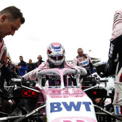 Sergio Perez, Racing Point RP19 gets into his car before the race