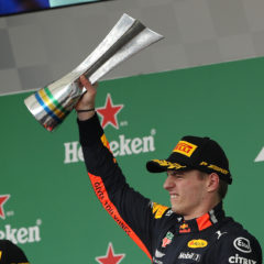 SAO PAULO, BRAZIL - NOVEMBER 17: Race winner Max Verstappen of Netherlands and Red Bull Racing celebrates on the podium during the F1 Grand Prix of Brazil at Autodromo Jose Carlos Pace on November 17, 2019 in Sao Paulo, Brazil. (Photo by Robert Cianflone/Getty Images) // Getty Images / Red Bull Content Pool  // AP-227DHF79D1W11 // Usage for editorial use only //