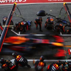 BARCELONA, SPAIN - FEBRUARY 27: Alexander Albon of Thailand driving the (23) Aston Martin Red Bull Racing RB16 makes a pitstop during Day Two of F1 Winter Testing at Circuit de Barcelona-Catalunya on February 27, 2020 in Barcelona, Spain. (Photo by Mark Thompson/Getty Images) // Getty Images / Red Bull Content Pool // AP-2387KM73N1W11 // Usage for editorial use only //