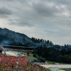 The Fyling Bulls Air Show seen during the Stop 11 of the MotoGP World Championship in Spielberg, Austria on August 9, 2019. // Markus Berger / Red Bull Content Pool // AP-217V3WNEW1W11 // Usage for editorial use only //