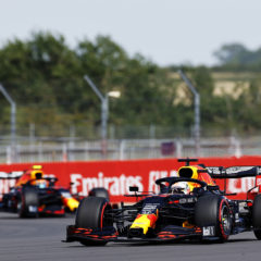 NORTHAMPTON, ENGLAND - JULY 31: Max Verstappen of the Netherlands driving the (33) Aston Martin Red Bull Racing RB16 on track during practice for the F1 Grand Prix of Great Britain at Silverstone on July 31, 2020 in Northampton, England. (Photo by Andrew Boyers/Pool via Getty Image) // Getty Images / Red Bull Content Pool  // AP-24T31URFW2111 // Usage for editorial use only //