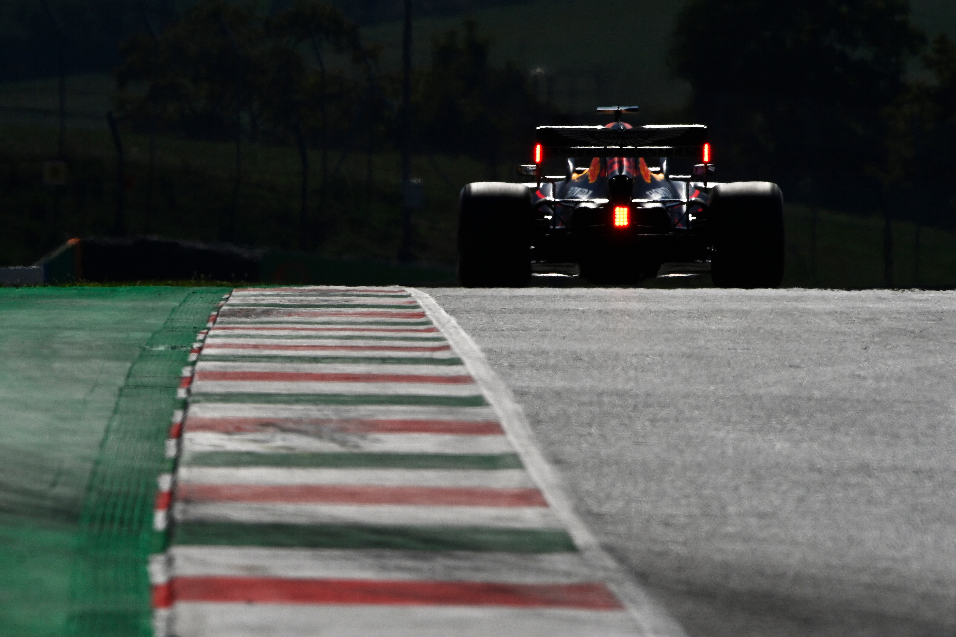 SCARPERIA, ITALY - SEPTEMBER 12: Max Verstappen of the Netherlands driving the (33) Aston Martin Red Bull Racing RB16 on track during qualifying for the F1 Grand Prix of Tuscany at Mugello Circuit on September 12, 2020 in Scarperia, Italy. (Photo by Rudy Carezzevoli/Getty Images) // Getty Images / Red Bull Content Pool  // SI202009120177 // Usage for editorial use only //