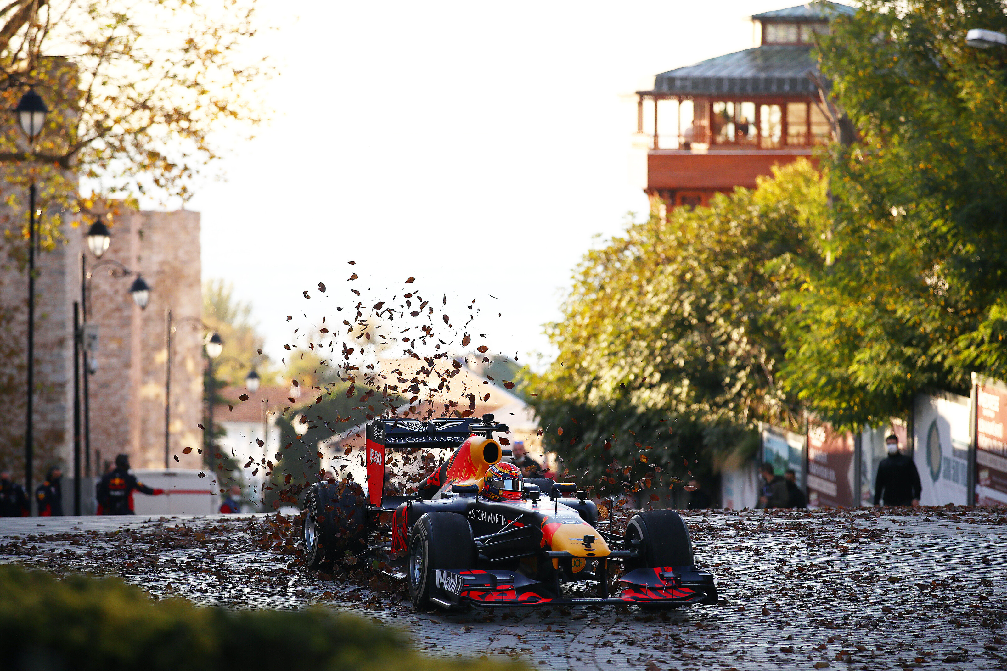 ISTANBUL, TURKEY - NOVEMBER 09: The Red Bull Racing RB7 is driven through Sultanahmet Square during the Red Bull Istanbulls show run on November 09, 2020 in Istanbul, Turkey. (Photo by Bryn Lennon/Getty Images ) // Getty Images / Red Bull Content Pool  // SI202011110249 // Usage for editorial use only //