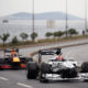 ISTANBUL, TURKEY - NOVEMBER 10: Pierre Gasly of France and Scuderia AlphaTauri drives ahead of Alexander Albon of Thailand and Red Bull Racing during the Red Bull Istanbulls show run on November 10, 2020 in Istanbul, Turkey. (Photo by Bryn Lennon/Getty Images ) // Getty Images / Red Bull Content Pool // SI202011110281 // Usage for editorial use only //