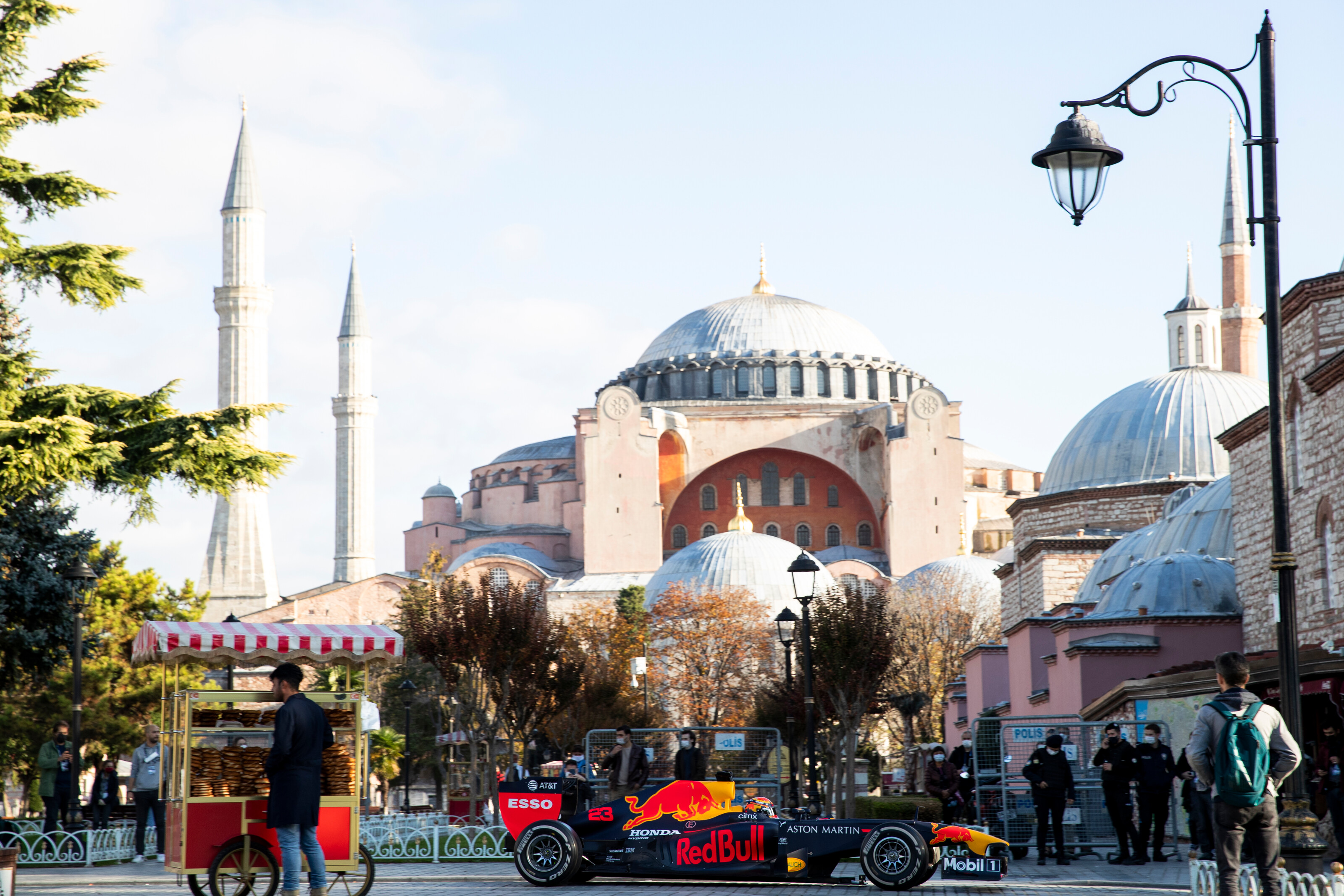 ISTANBUL, TURKEY - NOVEMBER 09: The Red Bull Racing RB7 is driven through Sultanahmet Square during the Red Bull Istanbulls show run on November 09, 2020 in Istanbul, Turkey. (Photo by Joe Portlock/Getty Images) // Getty Images / Red Bull Content Pool  // SI202011110289 // Usage for editorial use only //