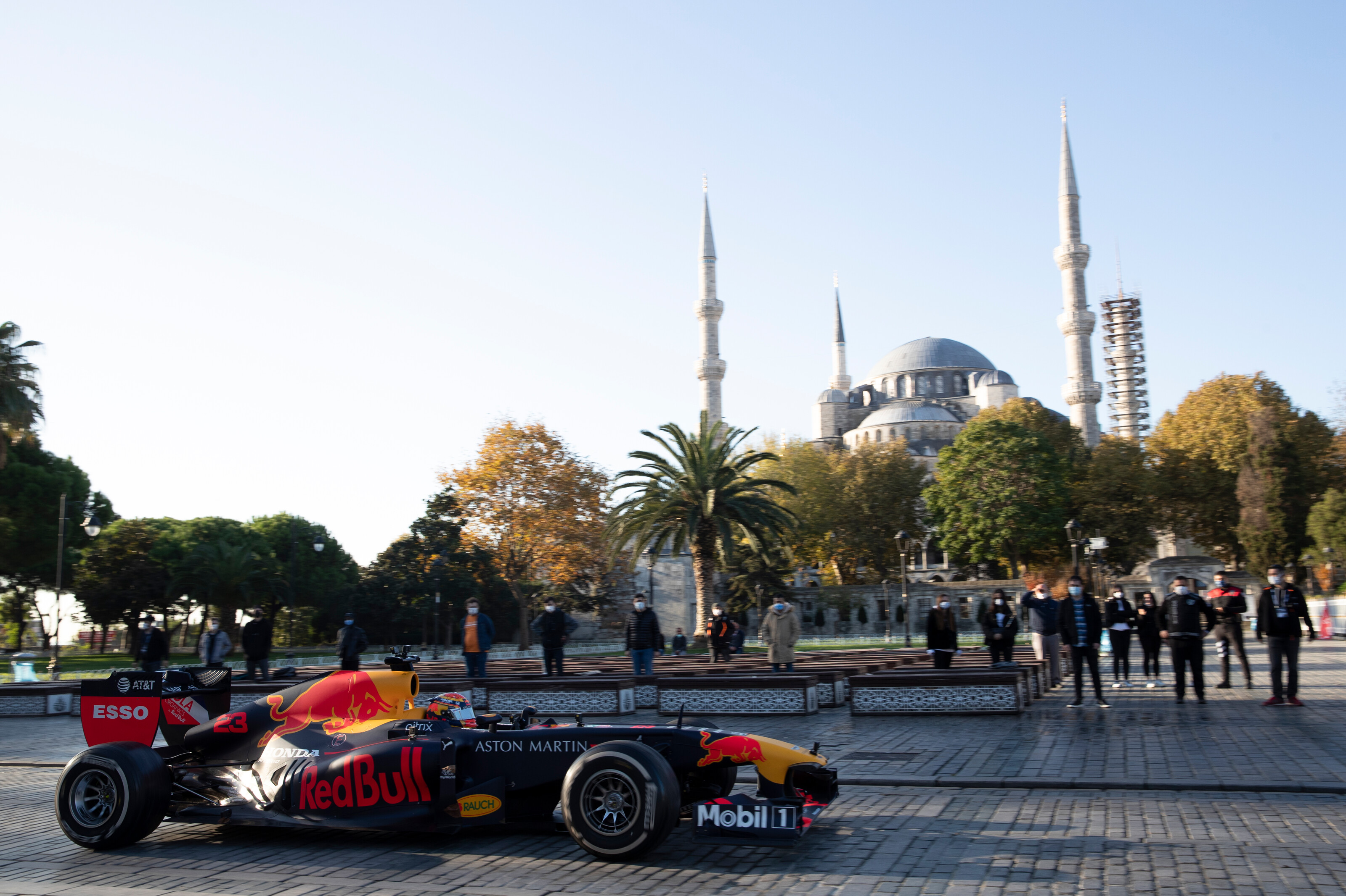 ISTANBUL, TURKEY - NOVEMBER 09: The Red Bull Racing RB7 is driven through Sultanahmet Square during the Red Bull Istanbulls show run on November 09, 2020 in Istanbul, Turkey. (Photo by Joe Portlock/Getty Images) // Getty Images / Red Bull Content Pool  // SI202011110332 // Usage for editorial use only //