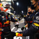 ABU DHABI, UNITED ARAB EMIRATES - DECEMBER 13: Race winner Max Verstappen of Netherlands and Red Bull Racing celebrates with his team in parc ferme during the F1 Grand Prix of Abu Dhabi at Yas Marina Circuit on December 13, 2020 in Abu Dhabi, United Arab Emirates. (Photo by Mark Thompson/Getty Images)