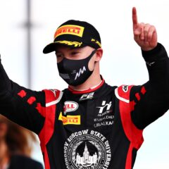 NORTHAMPTON, ENGLAND - AUGUST 01: Race winner Nikita Mazepin of Russia and Hitech Grand Prix celebrates on the podium during the feature race for the Formula 2 Championship at Silverstone on August 01, 2020 in Northampton, England. (Photo by Joe Portlock - Formula 1/Formula 1 via Getty Images)