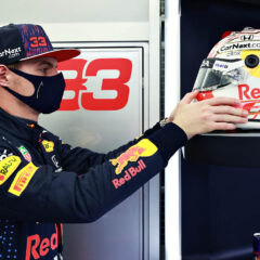 BAHRAIN, BAHRAIN - MARCH 11: Max Verstappen of Netherlands and Red Bull Racing inspects his helmet in the garage during previews ahead of Formula 1 Testing at Bahrain International Circuit on March 11, 2021 in Bahrain, Bahrain. (Photo by Mark Thompson/Getty Images) // Getty Images / Red Bull Content Pool  // SI202103111395 // Usage for editorial use only //