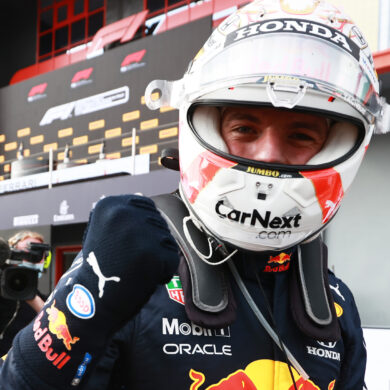 IMOLA, ITALY - APRIL 18: Race winner Max Verstappen of Netherlands and Red Bull Racing celebrates in parc ferme during the F1 Grand Prix of Emilia Romagna at Autodromo Enzo e Dino Ferrari on April 18, 2021 in Imola, Italy. (Photo by Mark Thompson/Getty Images) // Getty Images / Red Bull Content Pool  // SI202104180346 // Usage for editorial use only //