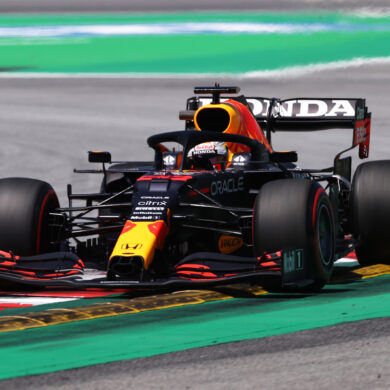 BARCELONA, SPAIN - MAY 08: Max Verstappen of the Netherlands driving the (33) Red Bull Racing RB16B Honda on track during final practice for the F1 Grand Prix of Spain at Circuit de Barcelona-Catalunya on May 08, 2021 in Barcelona, Spain. (Photo by Lars Baron/Getty Images) // Getty Images / Red Bull Content Pool  // SI202105080129 // Usage for editorial use only //