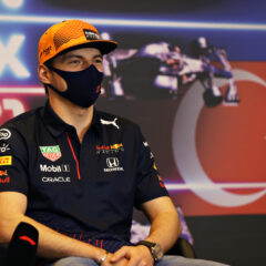 BAKU, AZERBAIJAN - JUNE 03: Max Verstappen of Netherlands and Red Bull Racing talks in the Drivers Press Conference during previews ahead of the F1 Grand Prix of Azerbaijan at Baku City Circuit on June 03, 2021 in Baku, Azerbaijan. (Photo by Clive Rose/Getty Images) // Getty Images / Red Bull Content Pool  // SI202106030093 // Usage for editorial use only //