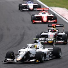 BUDAPEST, HUNGARY - JULY 31: Lorenzo Colombo of Italy and Campos Racing (21) leads Ayumu Iwasa of Japan and Hitech Grand Prix (11) during Round 4:Budapest race 1 of the Formula 3 Championship at Hungaroring on July 31, 2021 in Budapest, Hungary. (Photo by Bryn Lennon/Getty Images)